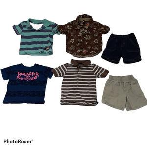 Lot of 6 Boys Shorts Shirts Blue Jean Denim Khaki